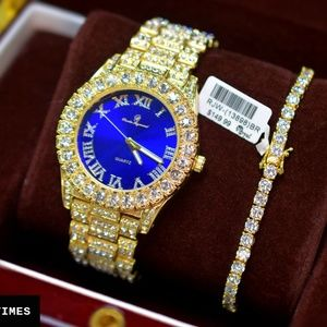 5045d746b Other - Full Iced Out Luxury Watch, Tennis Bracelet Set